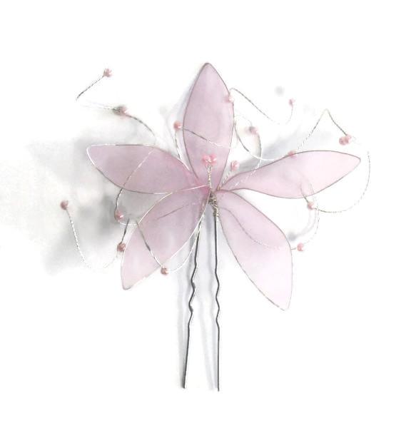 Vlásenka s velkou kytičkou a růžovými korálky - světle růžová