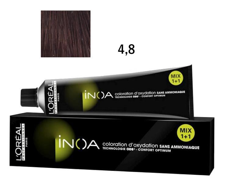 Loréal Inoa 2 barva na vlasy 60 g - odstín 4,8 hnědá mokka