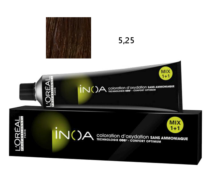 Loréal Inoa 2 barva na vlasy 60 g - odstín 5,25 HR hnědá mahagonová