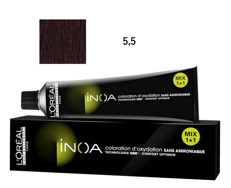 Loréal Inoa 2 barva na vlasy 60 g - odstín 5,5 HR hnědá světlá mahagonová