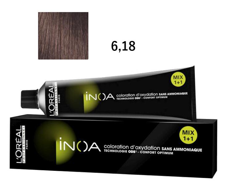Loréal Inoa 2 barva na vlasy 60 g - odstín 6,18 tmavá popelavá