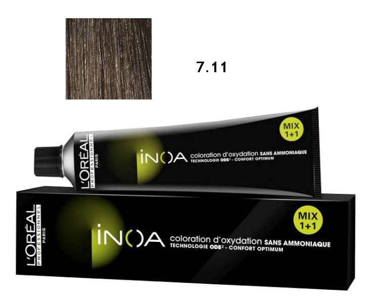 Loréal Inoa 2 barva na vlasy 60 g - odstín 7,11 popelavá blond (7.11)