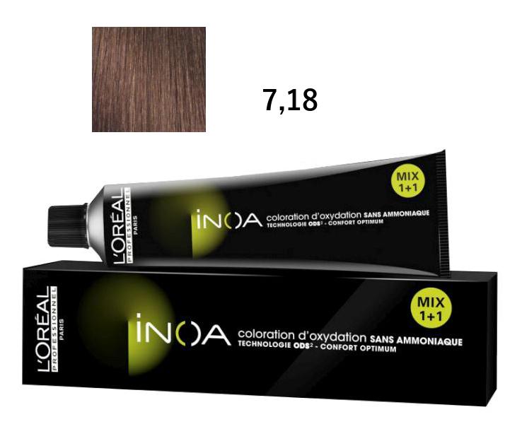 Loréal Inoa 2 barva na vlasy 60 g - odstín 7,18 blond popelavá mokka