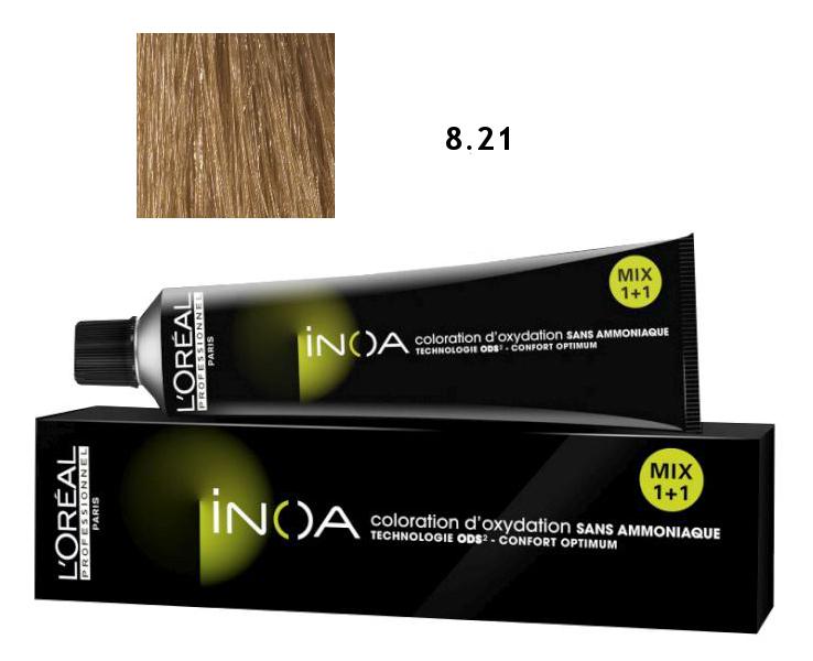 Loréal Inoa 2 barva na vlasy 60 g - odstín 8,21 blond světlá duhová popelavá