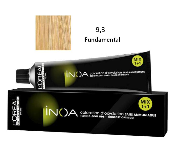 Loréal Inoa 2 barva na vlasy 60 g - odstín 9,3 fundamental blond (FUNDAMENTAL 9,3)