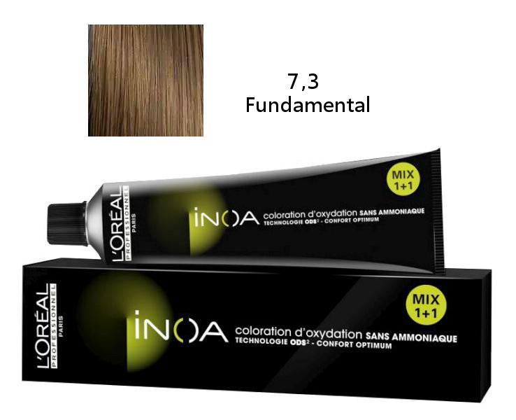 Loréal Inoa 2 barva na vlasy 60 g - odstín 7,3 Fundamental zlatá