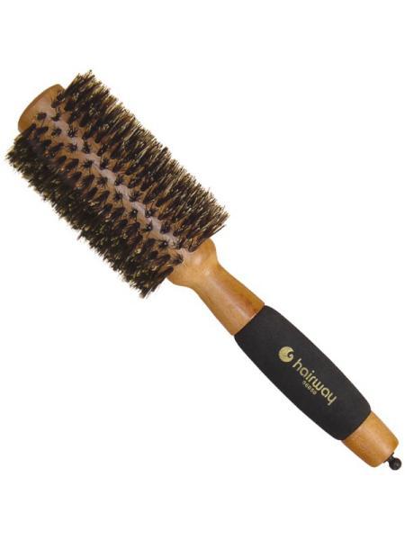 Dřevěný kartáč s kančími štětinami a pěn. rukojetí Hairway - a #8960; 28 mm (06050)