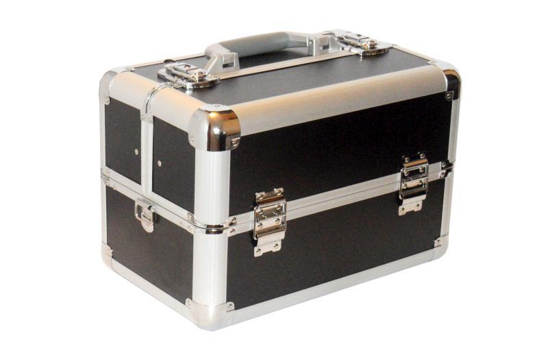 Kadeřnický kufr s přihrádkami Hairway, černý (28561) + DÁREK ZDARMA
