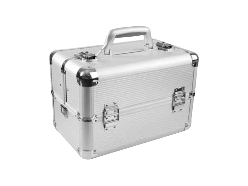 Hairway Kadeřnický kufr s přihrádkami - stříbrný (28562) + DÁREK ZDARMA