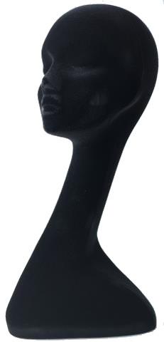 Manekýna pro paruky s prodlouženým krkem - žena, černý velurový potah (4490509) - Sibel + DÁREK ZDARMA