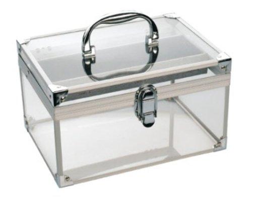 Kadeřnický-kosmetický kufřík Sibel - průhledný (0150081) + DÁREK ZDARMA