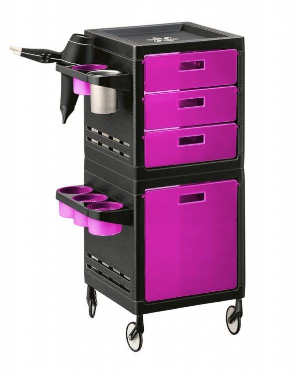 Kadeřnický pracovní vozík Ceriotti My, 4 zásuvky - růžovo/černý (7244r) + DÁREK ZDARMA