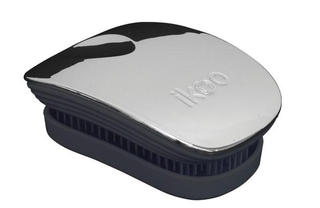 Cestovní kartáč na vlasy Ikoo Pocket Metallic Oyster - černo-stříbrný + DÁREK ZDARMA