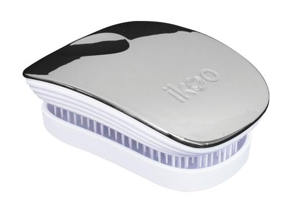 Cestovní kartáč na vlasy Ikoo Pocket Metallic Oyster - bílo-stříbrný + DÁREK ZDARMA