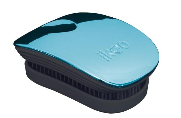 Cestovní kartáč na vlasy Ikoo Pocket Metallic Pacific - černo-tyrkysový + DÁREK ZDARMA