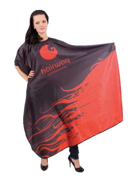 Kadeřnická pláštěnka Hairway 136 x 160cm - černočervená (37071) + DÁREK ZDARMA