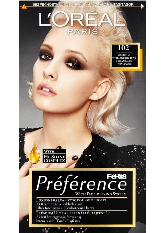 Permanentní barva Loréal Préférence 102 velmi velmi světlá blond duhová