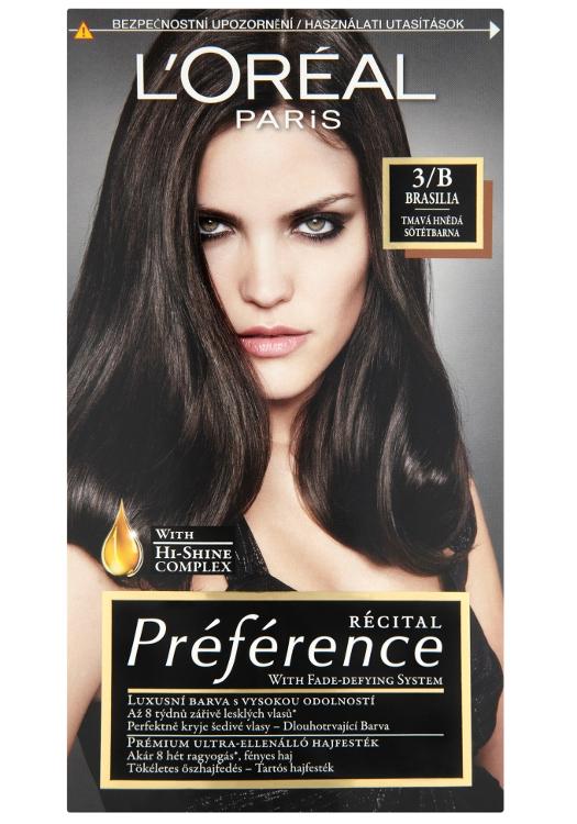Permanentní barva Loréal Préférence 3/B hnědá tmavá