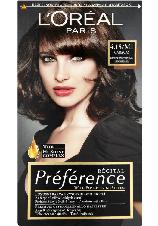 Permanentní barva Loréal Préférence 4.15/M1 intenzivní ledově čokoládová