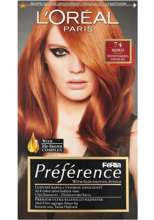 Permanentní barva Loréal Préférence 74 intenzivní měděná