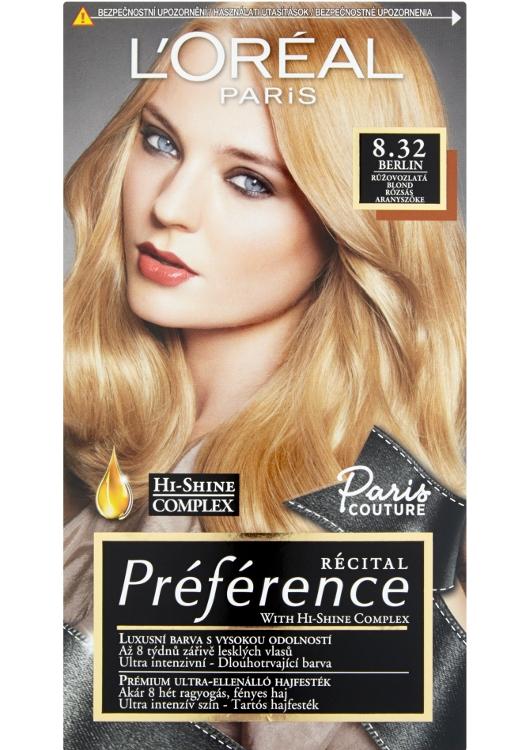Permanentní barva Loréal Préférence 8.32 růžovozlatá blond