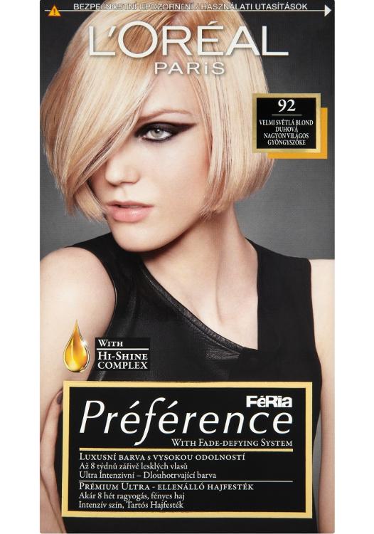 Permanentní barva Loréal Préférence 92 velmi světlá blond duhová