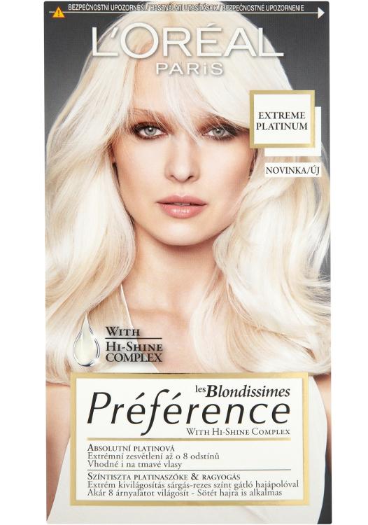Zesvětlující barva Loréal Préférence Extreme Platinum