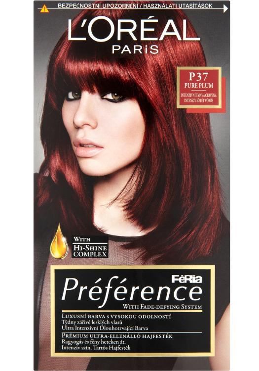 Permanentní barva Loréal Préférence P37 intenzivní tmavá červená