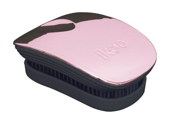Cestovní kartáč na vlasy Ikoo Pocket Metallic Rose - černo-starorůžový + DÁREK ZDARMA