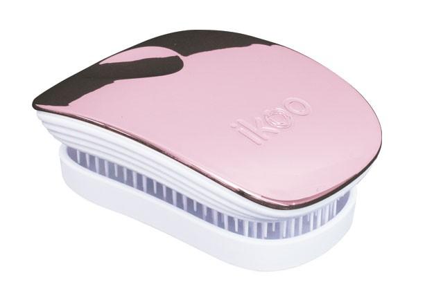 Cestovní kartáč na vlasy Ikoo Pocket Metallic Rose - bílo-starorůžový + DÁREK ZDARMA