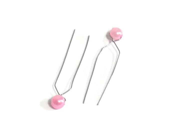Ozdobná perlička do vlasů na drátku - růžová