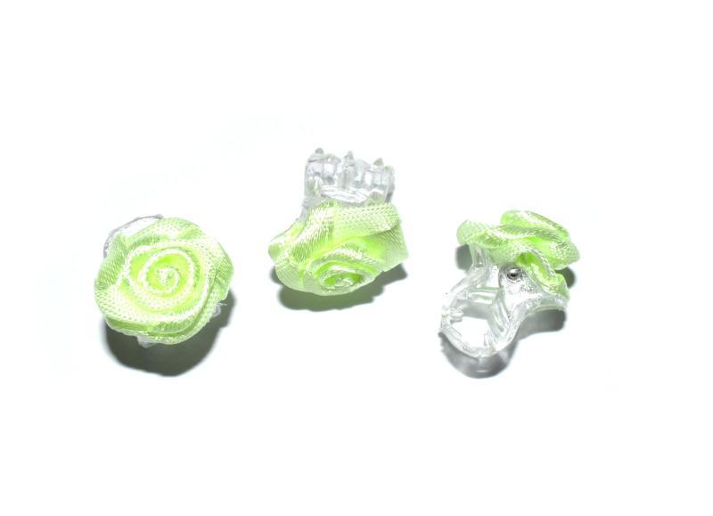 Skřipec do vlasů růžička - světle zelená, 1ks