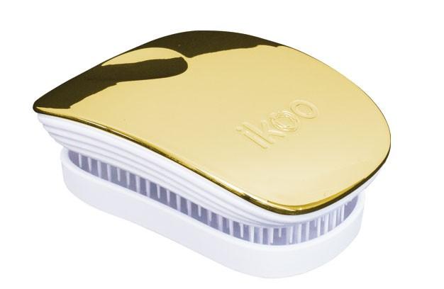 Cestovní kartáč na vlasy Ikoo Pocket Metallic Soleil - bílo-zlatý + DÁREK ZDARMA