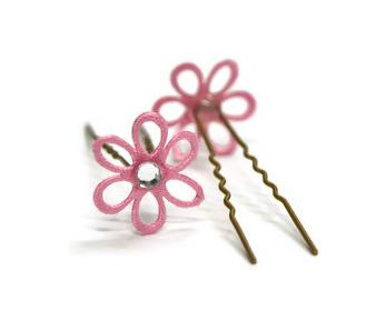 Vlásenka s kytičkou a průhledným kamínkem - růžová/zlatá