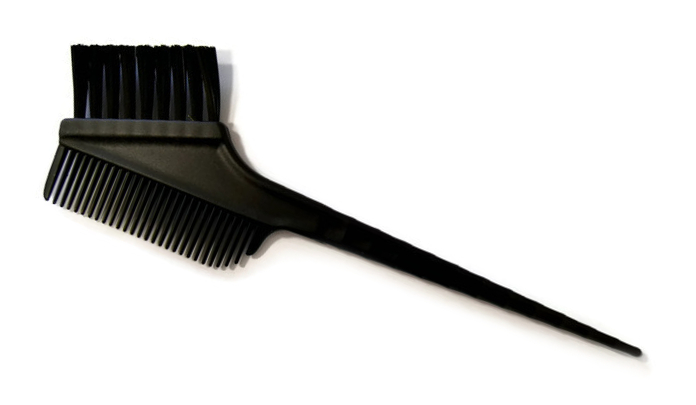 Štětec na barvení vlasů s hřebenem Mila - černý (0068264)