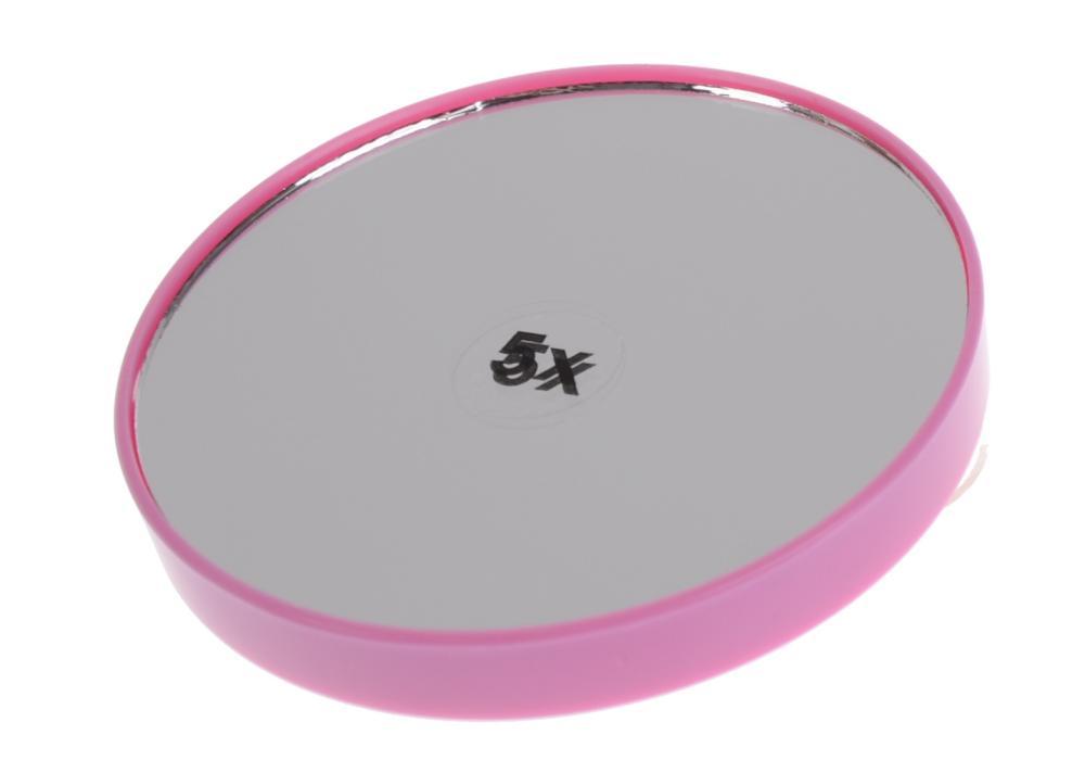 Kosmetické zvětšovací zrcátko s přísavkami Sibel - 7,5 cm, růžové (0145093 - pink)